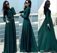 Wholesale 2016 New Fashion Dark Green Spring Autumn Long Sleeves Casual Dresses Long Party Runaway Women Dresses OXL092401