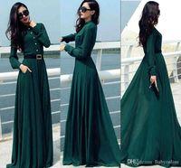 achat en gros de femmes vertes robe de mode-2016 Nouvelle Mode Automne Printemps vert foncé Long Manches Robes Casual Long Party Runaway Femmes Robes OXL092401