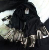 plain silk scarves - 2015 new silk women scarf color fashion black stitching gold silk scarf silk scarves cotton shawls brand wj0120