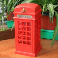 bank kiosk - New London Street Kiosks Retro Ornaments Painted Tin Piggy Bank Red Wooden Telephone Booth Money Box Coin Box