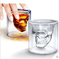 Wholesale Factory Price New Crystal Skull Head Vodka Shot Glass Pirate Cup Drinking Ware for Home Bar DHL Free Shiping