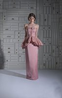 Cheap Elegant Sheath Strapless Evening Dresses With Lace Peplum Satin Pink Sleeveless 2016 Long Party Prom Gowns Dresses Floor Length Custom