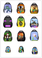 Wholesale 2015 New Arrival Minecraft Backpack Shoolbag Two Straps Shoulder Children Bag Colors School Bags My World Series Creeper