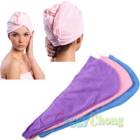 Wholesale Microfiber Bath Bathing Quick Dry Hair Magic Drying Turban Wrap Towel Hat Cap Shower Caps