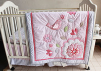 baby girls bedding - selling Baby bedding sets Applique Embroidery D bird Crib bedding sets cotton Baby Quilt Bed around Cot bedding