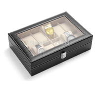 Wholesale High Quality Grid Slots PU Leather Jewelry Display Box Watch Case Rectangle Watch Box