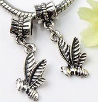 Metals bee metals - MIC x29mm Tibetan Silver Bee Hard to Gather Honey Metal Big Hole Beads Dangle Fit European Charm Bracelets Jewelry DIY B963