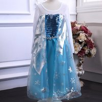 TuTu Summer Ball Gown Long sleeve dress princess elsa Frozen Dress Princess Elsa Dresses With Lace Snowflake queen elsa costume dress 30pcs lot