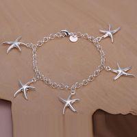 Wholesale Lady girl vogue Jewlery sterling silver plating Charm pendant starfish bracelets Shrimp buckle bracelet H193