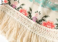 antique kimonos - Women Vintage Floral Print Kimono Cardigan Tassels Blouse Antique Flower Fringed Chiffon Shawl Cape Jacket Coat Size S M L