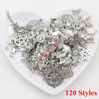 Charms handmade craft - 120pcs Mixed Tibetan Silver Plated Charm Fashion Pendants Jewelry DIY Jewelry Making Craft Handmade Fit European Bracelet Necklace styles