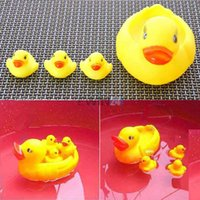 bath squeeze toys - Hot Selling SET Cute Bath Ducky Baby Small Yellow Ducks Swimming Bath Squeezed Dabbling Toy Gift sets