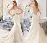 Cheap 2015 Wedding Dresses Demetrios Mermaid Sweetheart Neckline Sweep Train Beading Beads Feather Bridal Gowns