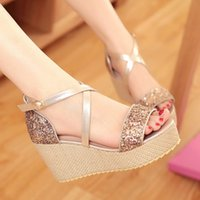 Wholesale Fashion Wedges High Heels Sandals Shoes For Women Sexy Casual Glitter Peep Toe Summer Dress Shoes Soft Footwear