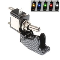 Wholesale 5PCS DC12V A Car Truck Boat Toggle Switch Control ON OFF Carbon Fiber LED Toggle Switch Light Racing SPST Colors order lt no track