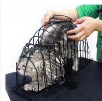 Wholesale Iron Wire Dedicated Transport Bath Pets Cat Safe Gird Separation Cage Black