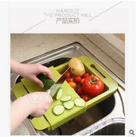 Wholesale 50pcs CCA3600 High Quality Korea Design Creative Kitchen In Cutting Board Wash With Handle Cut Fruit Meat With Sink Drain Chopping Board
