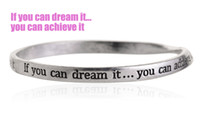 Wholesale Vintage Silver Equilibrium Bangle Bracelets Engraved Words If You Can Dream It You Can Achieve It DIY Inspirational Jewelry PHSZ15022