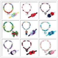 Wholesale Handmade Beaded Necklace Bracelet Jewelry Set For Children Gift Collocation Stretching Ellipse Necklace Bracelet Crafts