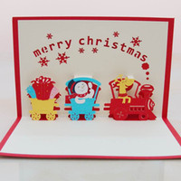Wholesale 50pcs Christmas Train with Snowman D handmade decoration pop up paper laser cut greeting cards crafts kirigami Christmas cards