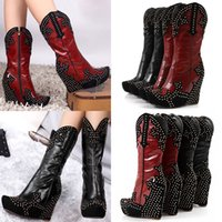 Wholesale Hot Giddy Up Stud Studded Platform Wedge Cowboy Boot Women New High Heel Shoes