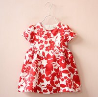 Wholesale Spring Paper Cuts - 2016 New Children Clothing Flower Paper-cut Picture Dress Girls Kids Cap Sleeve Dresses 2-7T Children Tops White Red K6882