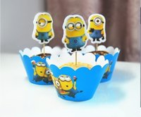 Wholesale 24Pcs Per Cartoon Despicable Me Minions Cupcake Wrapper Decorating Boxes Cake Cup With Toppers Picks For Kids Birthday party Decorations