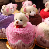 Wholesale Lovely teddy bear Cake Towel cm mini towel Wedding Christmas Valentines birthday gifts Baby shower favors gift souvenirs