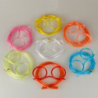 Wholesale Hot Cute Fun Funny Kids Colorful Soft Glasses DIY Drinking Straws Unique Flexible Drinking Tube Kids Party Gift