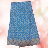 Wholesale Fashionable African embroidery cotton lace fabric LCL8 yds Beautiful sky blue Swiss voile lace fabric for dress