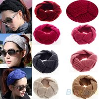 Cheap 20 Pcs Lot Fashion New Crochet Twist Knitted Headwrap Headband Winter Warmer Hair Band for Women Accessories