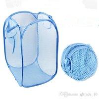 basket items wholesale - LJJG122 Reticular Laundry Basket Dirty Clothes Foldable Basket Creative Fashion Household Items Portable Grids Storage Basket