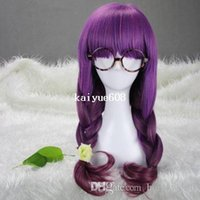 Wholesale Cool2day quot Wavy Mixed Gradient Purple Flat Bang Lolita Costume Cosplay Wig JF010793