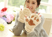 Wholesale Christmas gift Fingerless Gloves Woman Winter Fluffy Bear Cat Plush Paw Claw Glove Novelty soft toweling lady s half covered gloves mittens