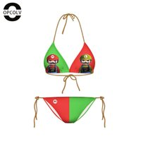 bain games - OPCOLV Newest Women Cartoon Swimsuits Printed Game Swimwear Summer Style Vintage Swimwear D Bikini Set Maillot De Bain