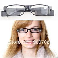 Wholesale black Led Reading Glasses Reading Glass with LED Light glasses power