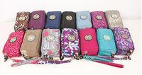 Wholesale brand Canvas kip Three zipper cosmetic bag purse