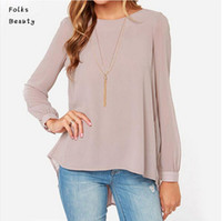 Cheap 2015 Summer Women Blouse Long Sleeve Ladies Office Shirts Plus Size Clothing Vintage European Style Nude Pleated blusa feminina 070101