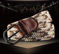 Compra Para mujer cinturones elásticos-50PCS HHA610 nuevos 80 colores para mujer para hombre de la lona del llano correas hebilla de metal tejido Stretch cintura cinturón trenzado lienzo Cinturones