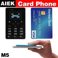 Wholesale Russian language NEW AIEK M5 Card Cell Phone mm Ultra Thin Pocket Mini Phone Quad Band Low Radiation AEKU M5 Card cheap Phone