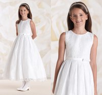 Wholesale 2015 Cheap Ball Pageant Gowns for Girls Sleeveless Zipper Cute Tea Length Full Exquisite Lace Plus Size Kids Prom Gown Flower Girls Dresses