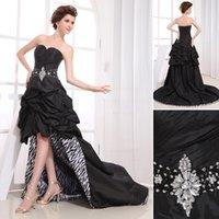beaded zebra - Custom made Sweetheart Beaded Waist Ruffles Hi Lo Prom Dresses Black And Zebra Taffeta Stay Fashion Forward All Year Long