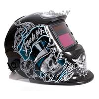 Wholesale New LCD Display Skull Pattern Solar Auto Darkening Welder Mask Tig Grinding ARC Soldering Welding Helmet Face Mask DH004 order lt no t