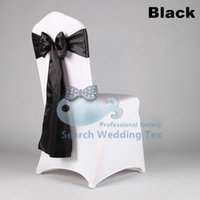 Wholesale Mix Order White Color Lycra Spandex Chair Cover And Black Satin Chair Sash Chair Cover