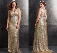 Wholesale Sparkle sequined champagne Plus Size prom Dresses jewel crystal beading sash Backless zipper Floor Length Party dresses evening gowns
