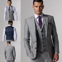 Wholesale Cheap Light Grey Groom Tuxedos Two Buttons Notch Lapels Buttons Cuffs Dual Vents Men s Wedding Suits Groom s Suits Jacket Pants Tie Vest