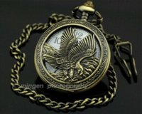 Cheap New 2014 Arrive High Quality Japan Movement Bronze The Eagle Pocket Watch necklace watch gold