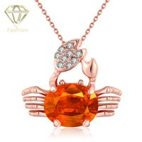 beautiful crabs - Rose Gold Plated New Beautiful Lovely Design Pendant Necklace Korean Sweet Crab Crystal Zircon Pendant Necklace Jewelry for Girl