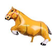 big horse toys - 50pcs alumnum balloons Festival party supplies Aluminum aluminum balloons big yellow horse Horse kid cute children s toys gift to