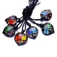 Cheap RINHOO water drop teardrop handmade art dichroic silver foil lampwork murano glass pendant necklace fashion Chinese coloured glaze jewelry